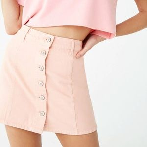 Forever 21 Pink Button Front Mini Denim Skirt NWT